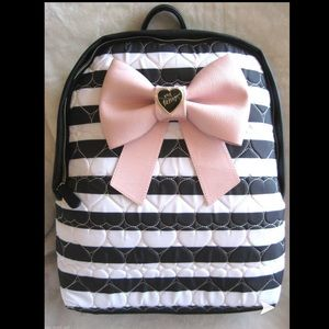 Betsey Johnson bow striped backpack